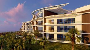 Tropical Hotel Design: Curved Facade Offers Big Ocean Views.